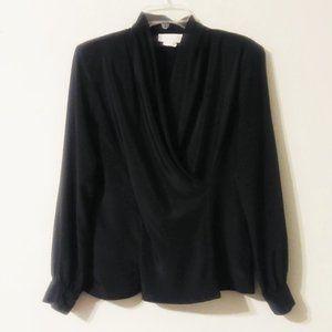 Vintage Anna Kriste Black Faux Wrap Shirt
